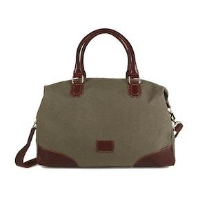Bag kakigrön canvas med bruna läderdetaljer The Monte 57096