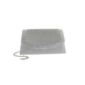 Kuvertväska tyg silver med strass Maricci 30120
