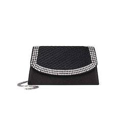 Kuvertväska tyg svart med strass Maricci 30120