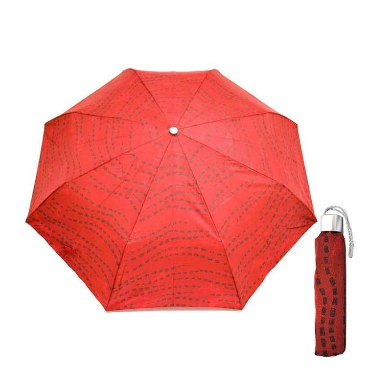 Paraply hopfällbart dam röd med svart mönster