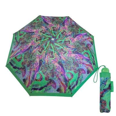Paraply hopfällbart dam grön batik