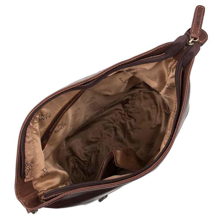 Kasse påsmodell skinn brun The Monte 57336 insida