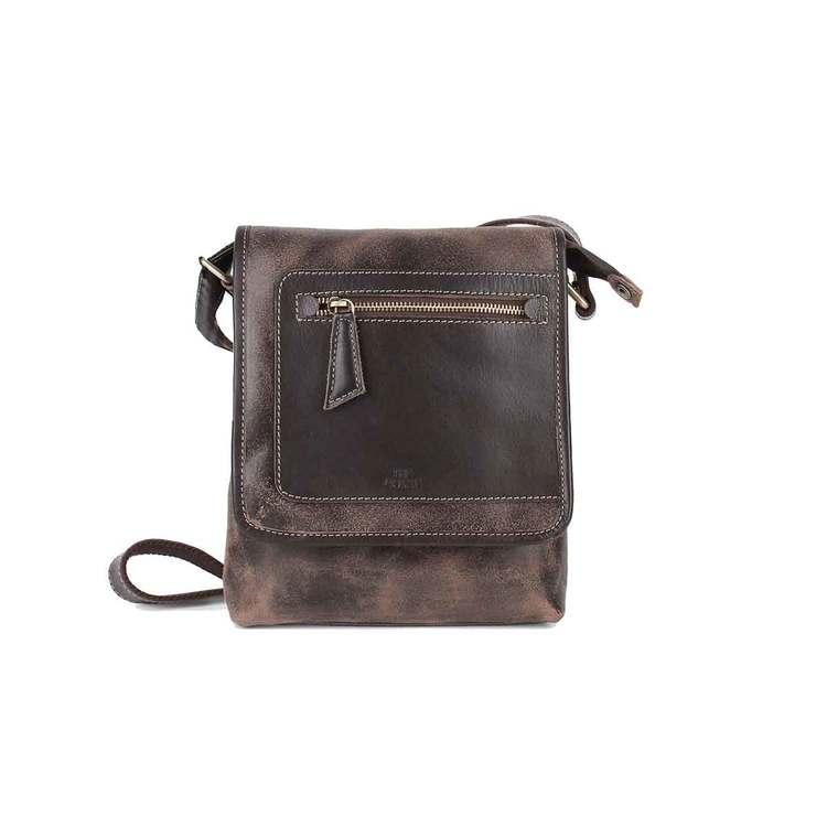 Axelväska lock skinn brun The Monte 57302
