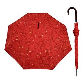 Paraply långt dam röda rosor vindsäkert