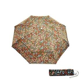 Paraply hopfällbart dam brun blommig