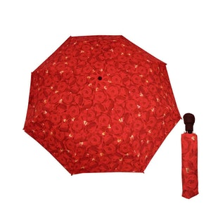Paraply hopfällbart dam röda rosor vindsäkert
