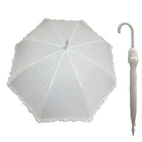 Paraply brud vit med volang