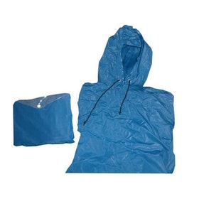 Poncho blå med luva
