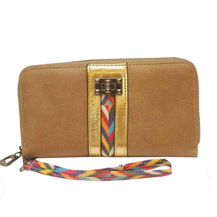 Plånboksväska beige inkamönster med handledsband SAC