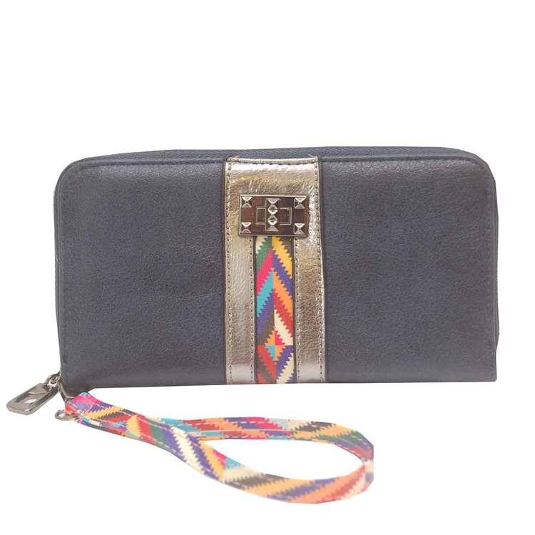 Plånboksväska blå inkamönster med handledsband SAC