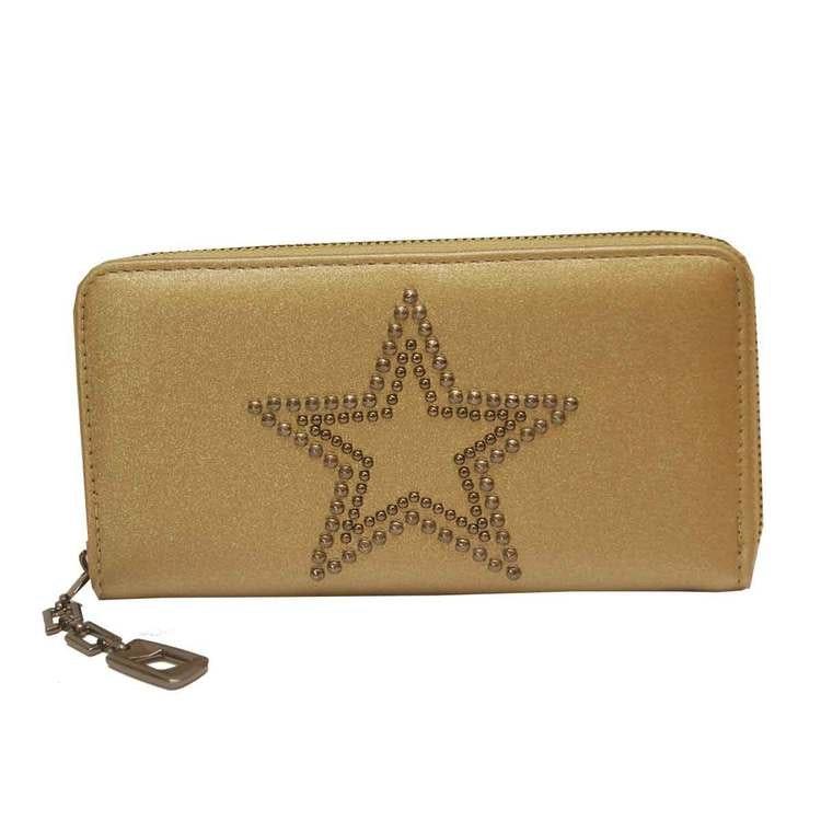 Plånboksväska i guldfärgat konstskinn