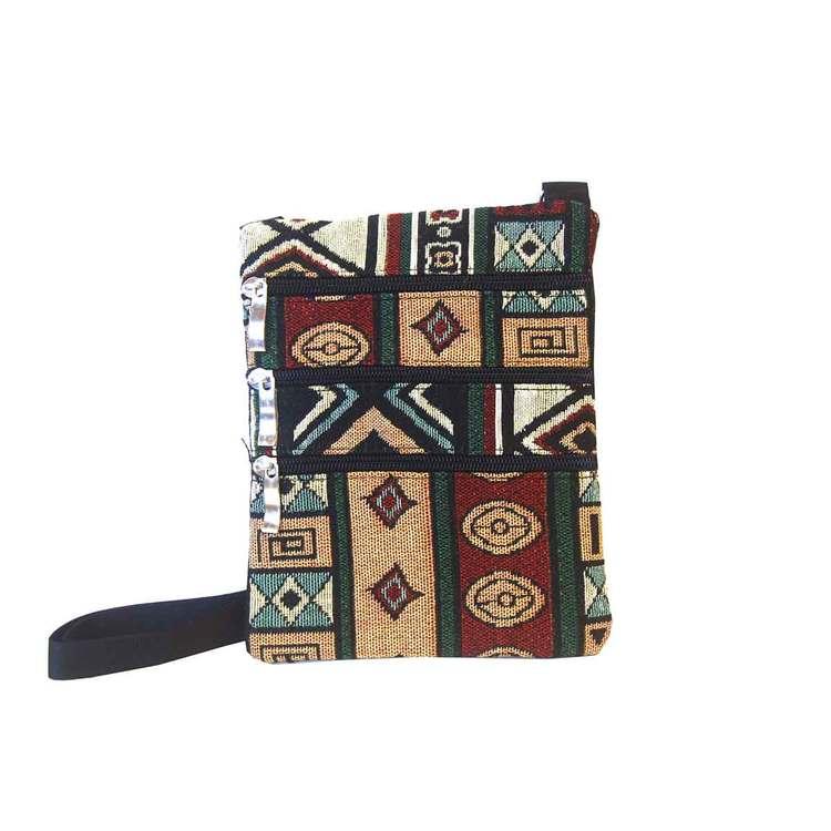 Axelväska liten tyg Inka röd och grön SAC