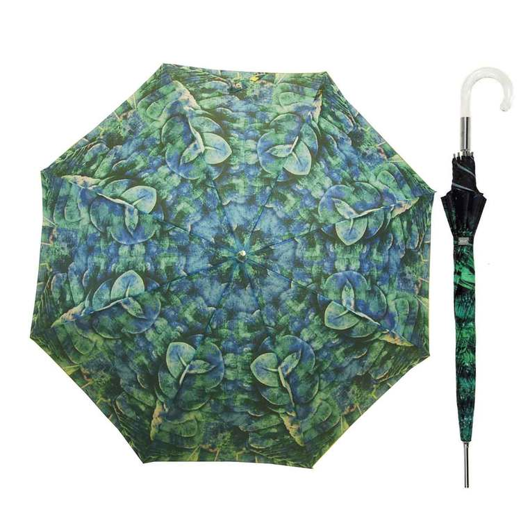 Paraply långt dam med blå grön vindsäkert
