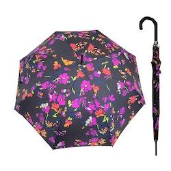 Paraply långt dam svart med blommor vindsäkert