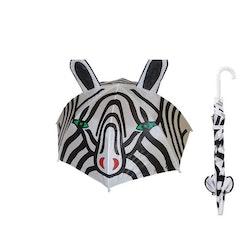 Paraply långt barn glad zebra