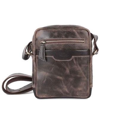 Axelväska vintage skinn brun The Monte 57301