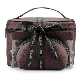 Sminkbox + 2 sminkväskor vinröd jaquard Gillian Jones