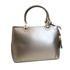 Handväska italienskt skinn silver SAC