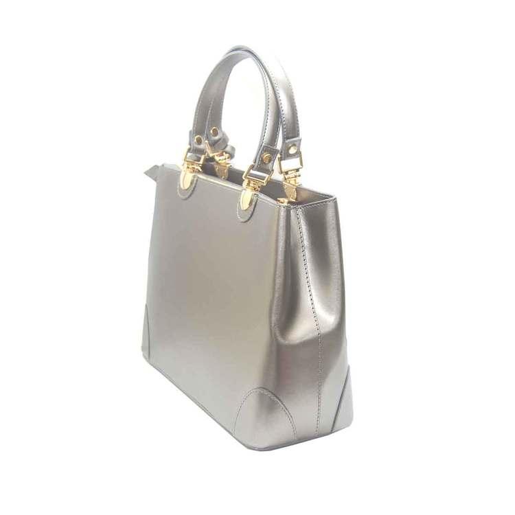 Handväska italienskt skinn silver SAC från sidan