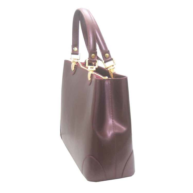 Handväska italienskt skinn lila SAC från sidan
