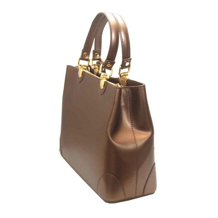 Handväska italienskt skinn champange SAC från sidan
