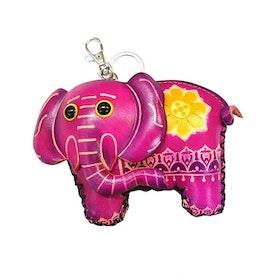 Nyckelring skinn med börs Elefant