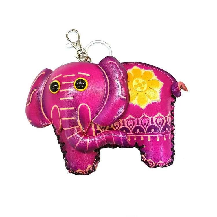 Nyckelring med börs Elefant rosa