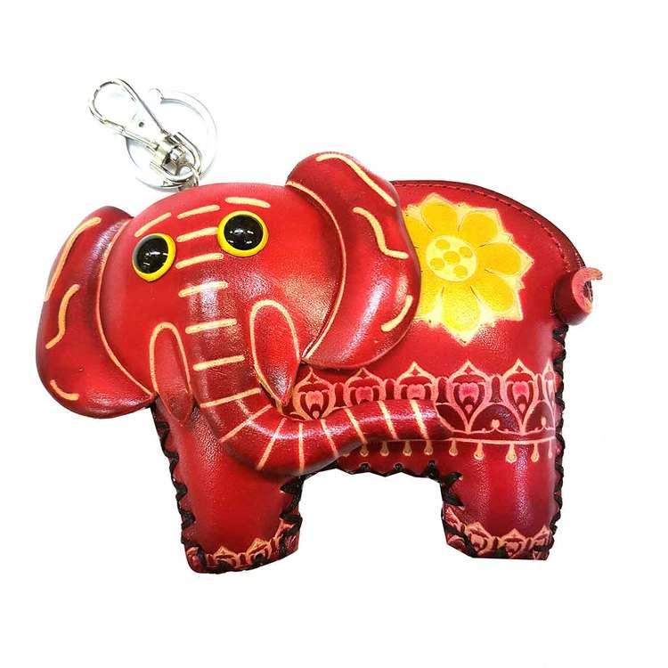 Nyckelring med börs Elefant röd