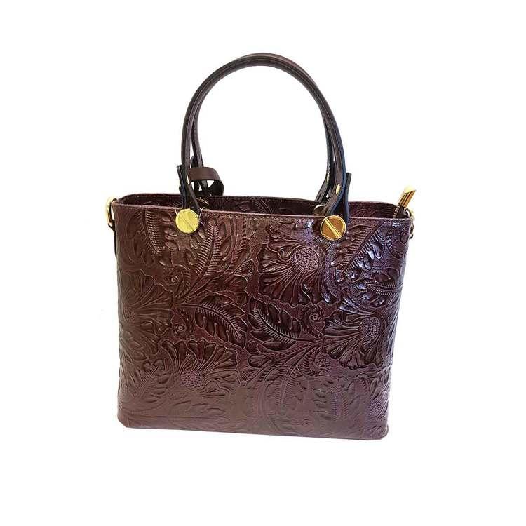 Handväska liten italienskt skinn vinröd mönstrad SAC