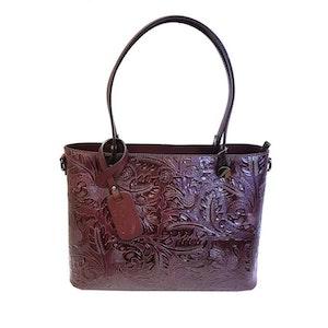 Handväska stor italienskt skinn vinröd mönstrad S.A.C