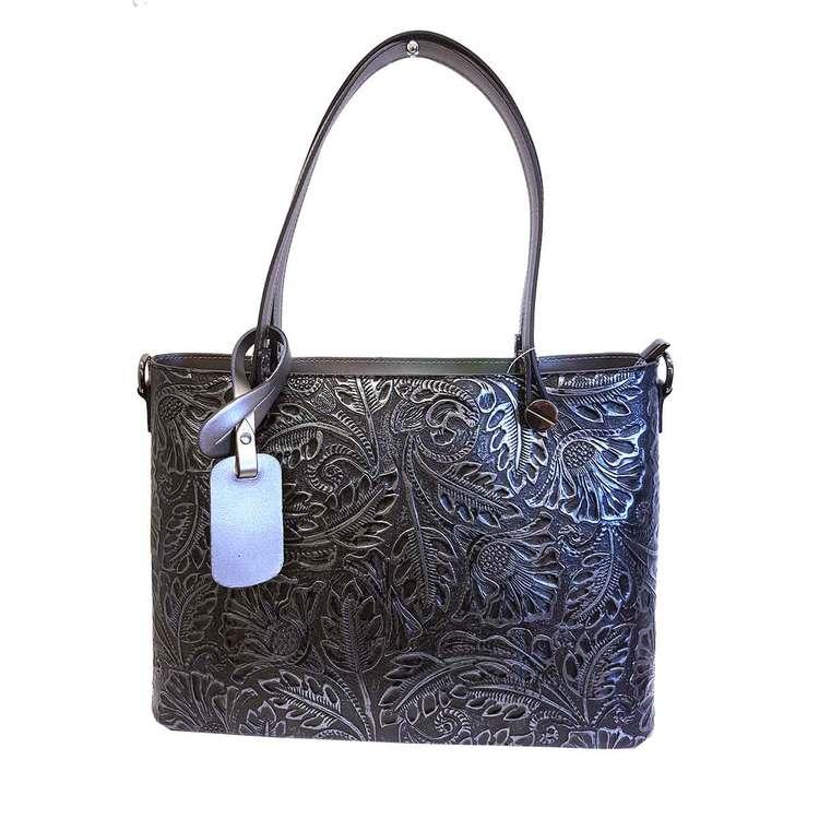 Handväska stor italienskt skinn silver svart mönstrad S.A.C