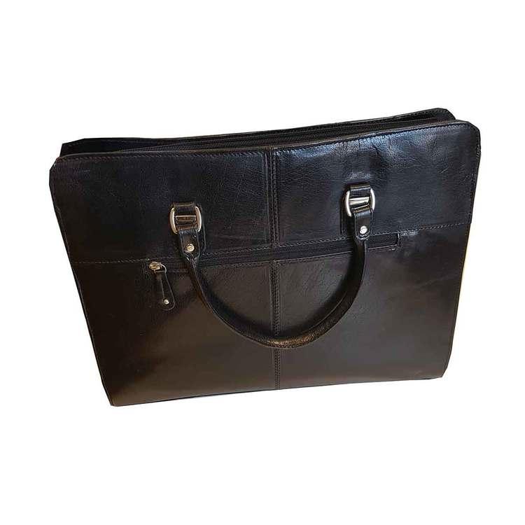 Handväska skinn svart The Monte 51067 baksida
