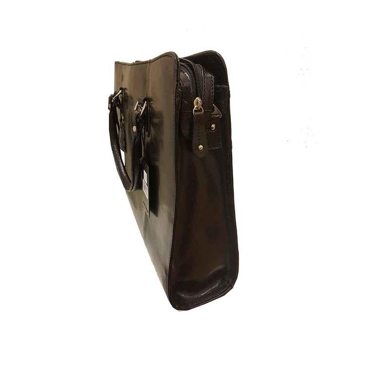 Handväska skinn svart The Monte 51067 från sidan