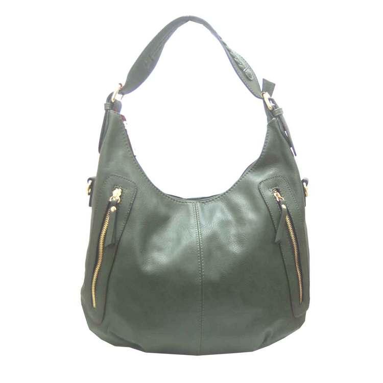 Handväska påsmodell grön fläta pu S.A.C 5133100