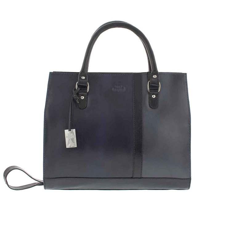 Handväska skinn svart, marin, grå The Monte 51128