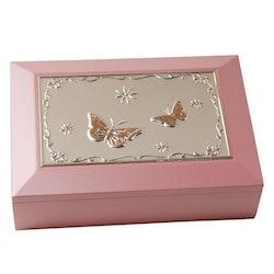 Smyckeskrin trä rosa med speldosa
