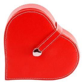 Smyckeskrin röd hjärta skinnimitation