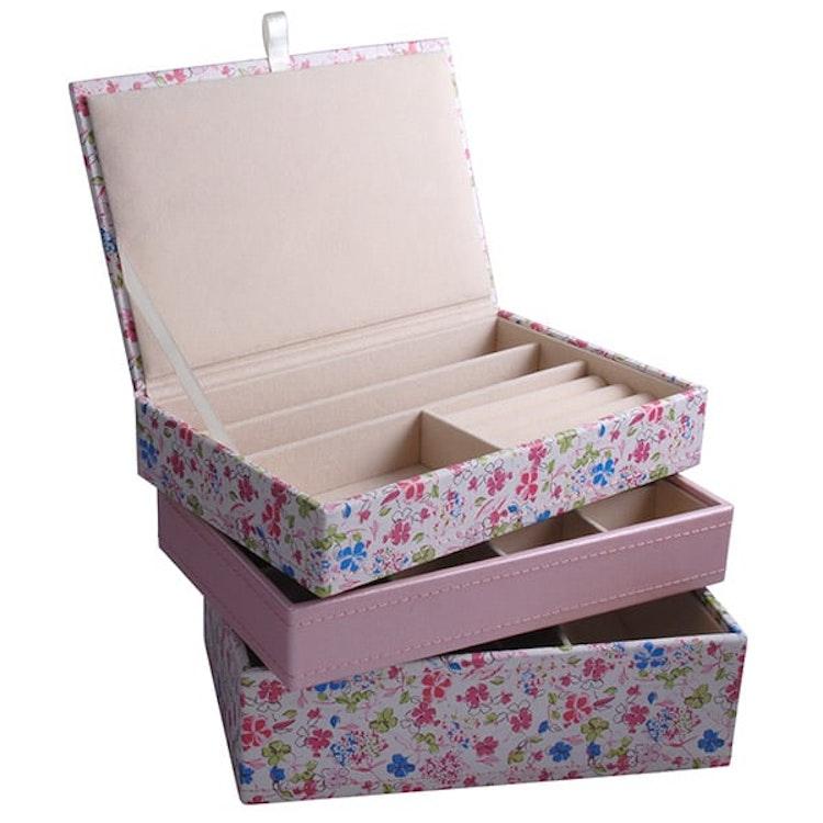 Smyckeskrin rosa blommig öppen