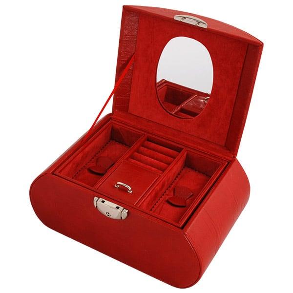 Smyckeskrin oval röd skinnimitation
