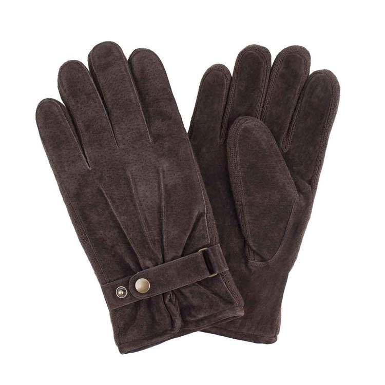 Handskar dam brun mocka med sleif par