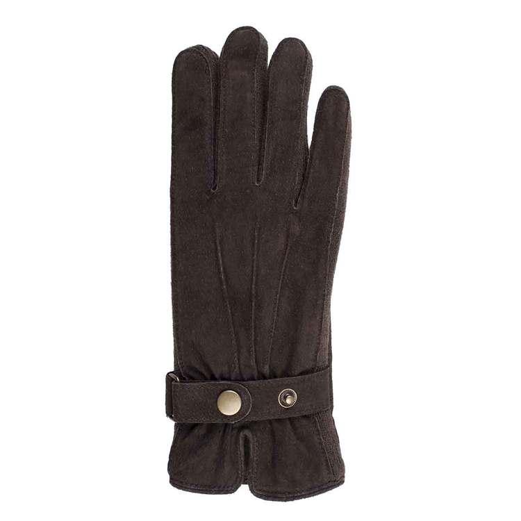 Handskar dam brun mocka med sleif