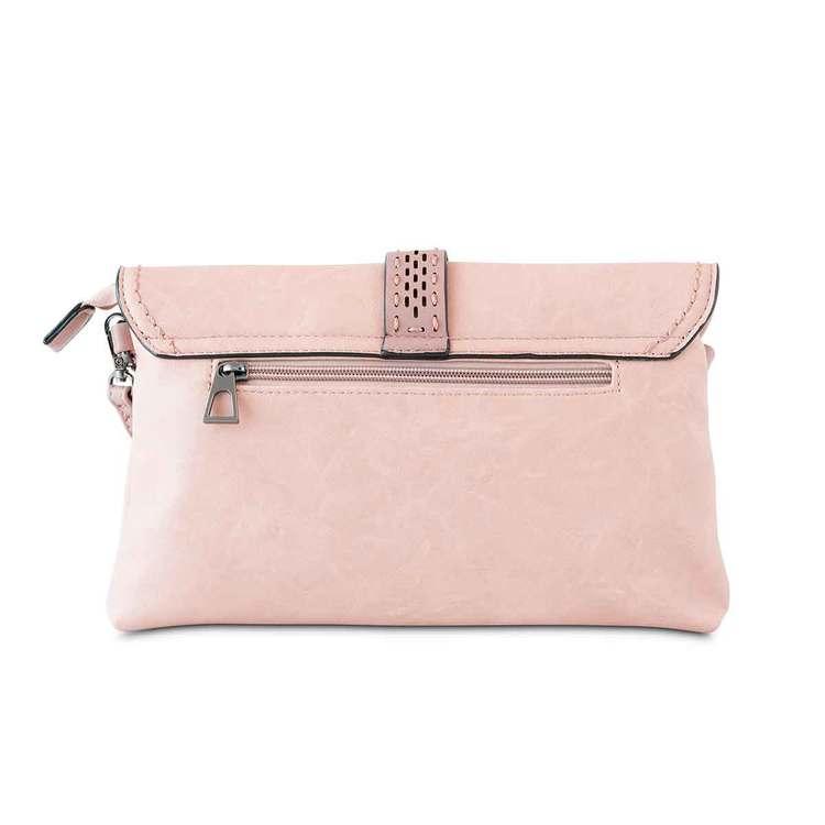 Axelväska kuvertväska med lock rosa Puccini baksidan