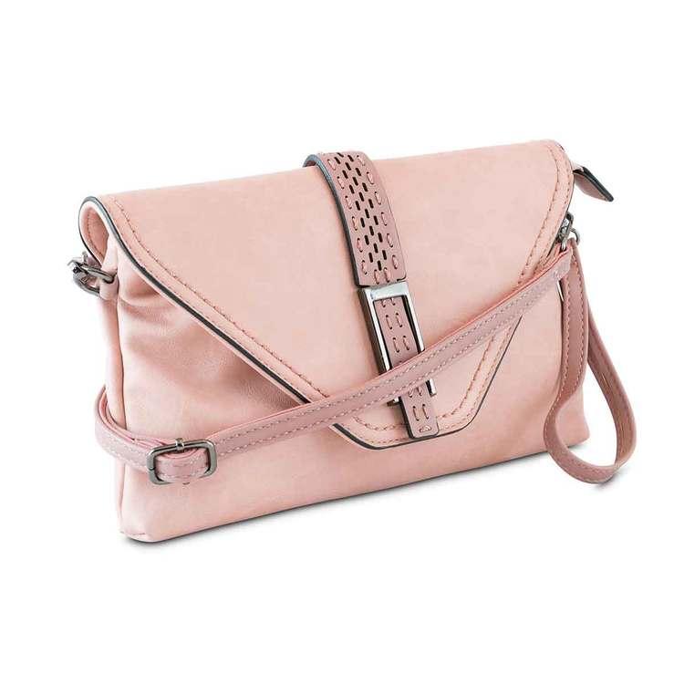 Axelväska kuvertväska med lock rosa Puccini sidan