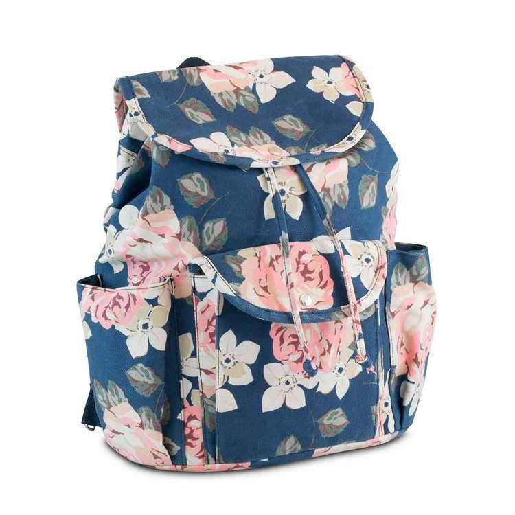 Ryggsäck tyg blå blommig Puccini sidan