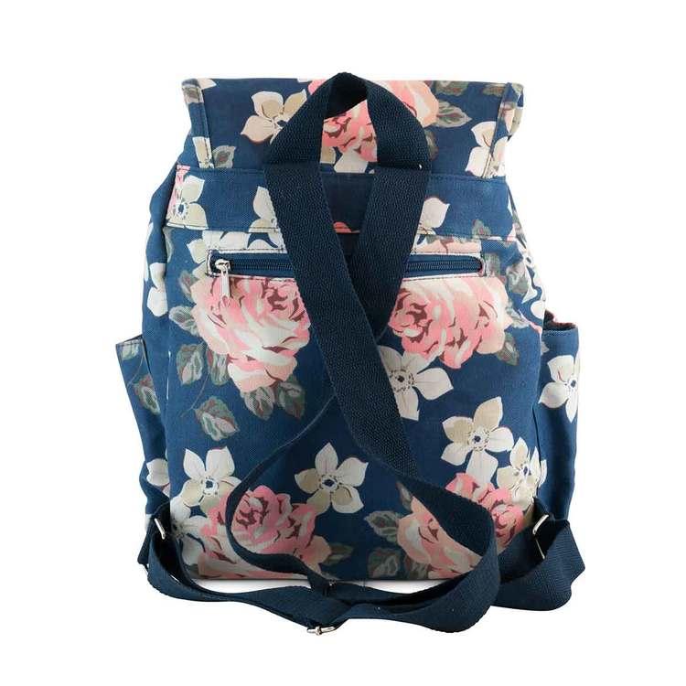 Ryggsäck tyg blå blommig Puccini baksidan