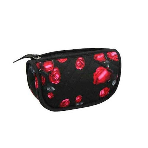 Sminkväska röda rosor svart Karen