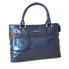 Handväska skinn marinblå The Monte 52445