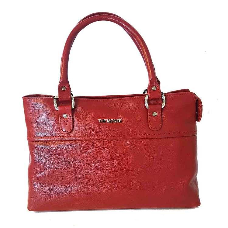 Handväska skinn röd The Monte 52445