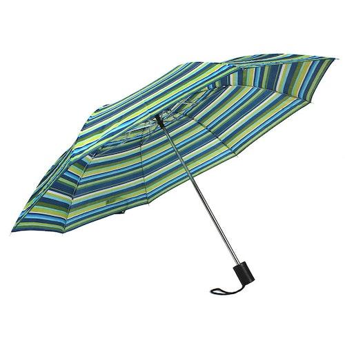 Paraply hopfällbart grön blå randig