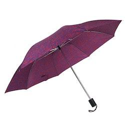 Paraply hopfällbart dam lila mönster